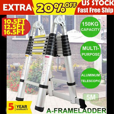 Details About 10 5 12 5 16 5ft Giant Aluminium Telescopic Ladder Extension Multi Purpose Steps Telescopic Ladder Telescope Aluminium