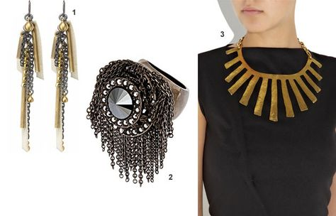 Incorporate some of the season's biggest jewelry trends into your look: layers, fringe, and big rings.