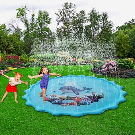 """Blue Inflatable Water Toys Splash Pad 60/"""" Outdoor Swimming Pool for Babies and Toddlers QPAU Sprinkler for Kids Baby Pool for Learning"""