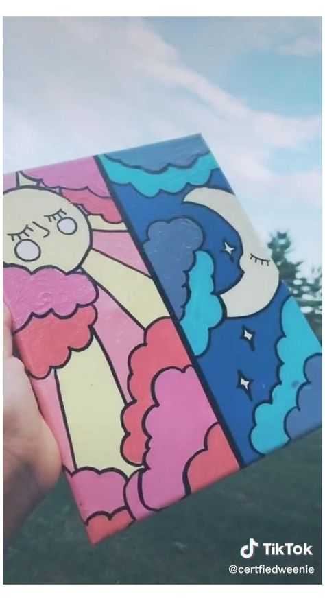 Small Canvas Paintings, Easy Canvas Art, Small Canvas Art, Cute Paintings, Mini Canvas Art, Easy Canvas Painting, Disney Canvas Art, Diy Canvas, Hippie Painting