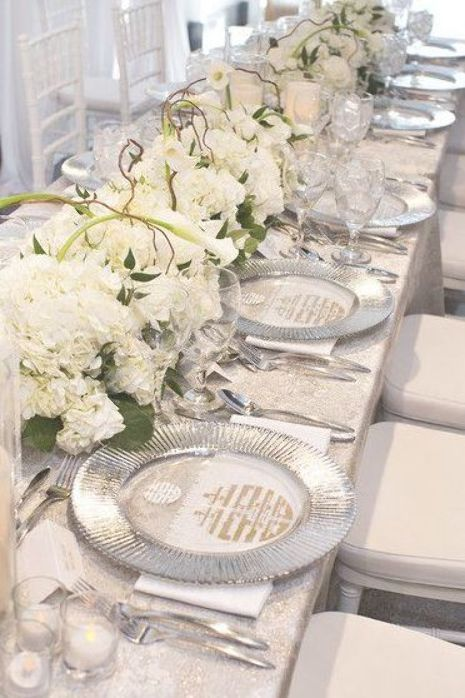 Elegant White Gold And Silver Table Setting Idea Silver