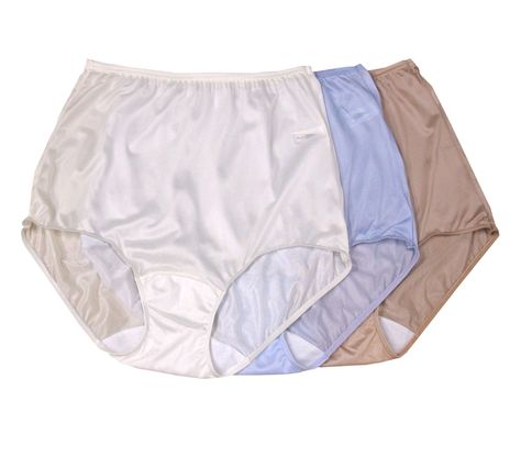 Shadowline Women/'s Nylon Full Brief Panty 3-Pack Assorted 17032