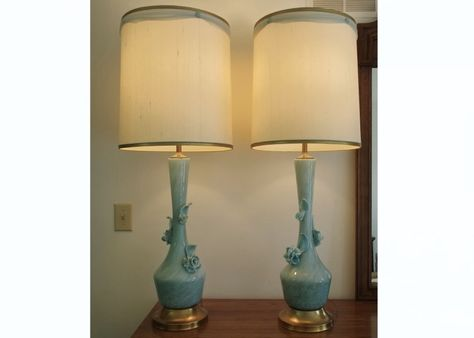 Vintage murano art glass lamps with floral applique
