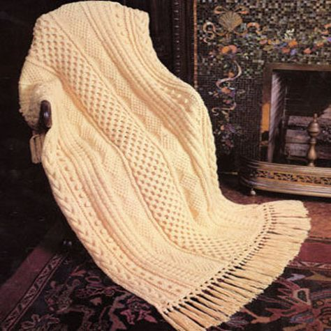 Instant Download PDF Vintage Knitting Pattern to make a Richly Textured  Aran Afghan Throw Blanket Rug for Experienced Knitters