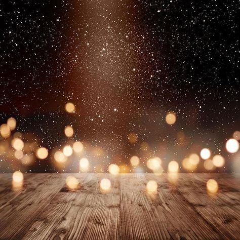 Bokeh Night Sky Wood Floor Photo Backdrop S-2925 - 6.5'W*5'H(2*1.5m)
