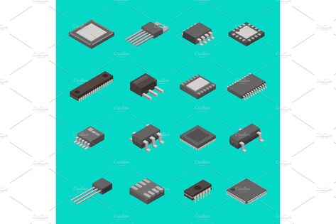 Isolated microchip semiconductor computer electronic components isometric icons vector illustration #isometric#components#set#icons