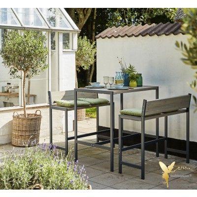 Woodinis Garten Bar Set Funkis 3tlg Holz Metall Graubraun Gartenbar Garten Outdoor Lounge Mobel