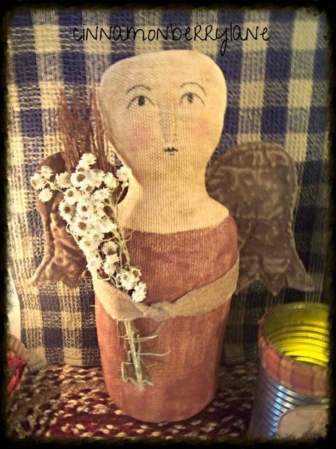 Primitive Folk Art Simple Gatherings Angel Doll #NaivePrimitive #Artist
