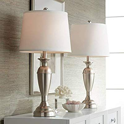 Blair Modern Table Lamps Set Of 2 Brushed Steel Metal White Drum Shade For Living Room Family Bedroo Table Lamp Sets Contemporary Table Lamps Metal Table Lamps