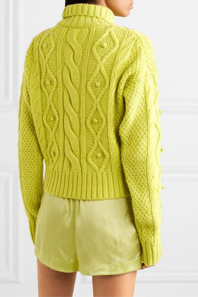 Lime green Nazca cable knit merino wool and alpaca blend