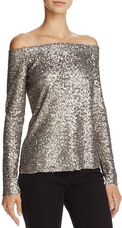491956aabb520 Bailey 44 Title Roll Sequined Off-the-Shoulder Top