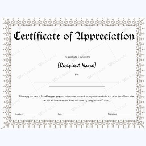 Certificate Of Appreciation Wordings #appreciationword - certification of appreciation wording
