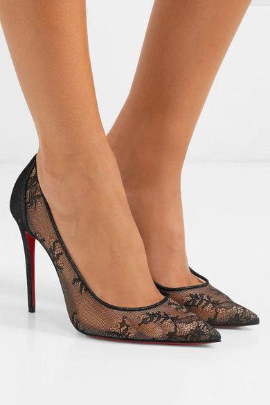 Black 554 100 lace and lamé pumps