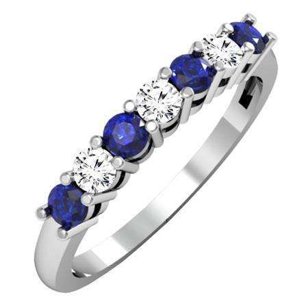 Share For 20 Off Your Purchase Of 100 Or More 0 50 Carat Ctw 10k White Gold Round Blue Sap Blue Sapphire Wedding Ring Sapphire Wedding Rings Women Jewelry