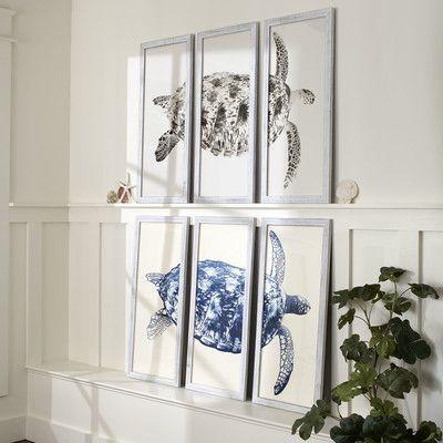 Sea Turtle Triptych Framed Print Farmhouse Wall Art Traditional Wall Art Decor