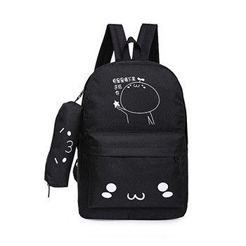 Mara's Dream 2017 2 Pcs/set Canvas School Backpacks for Teenager Candy Color Zipper Printed Cartoon Computer Travel Bags