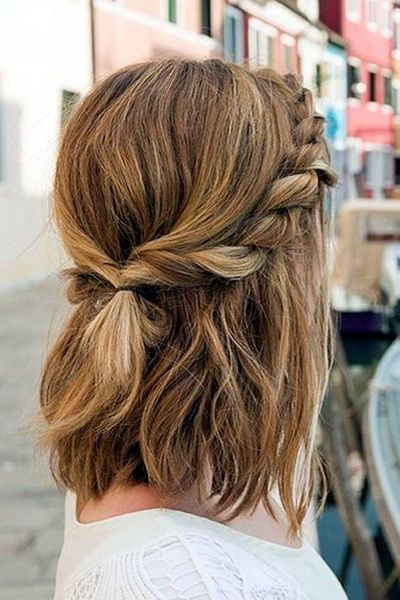 Braided Half Up Half Down Hairstyle Holiday Christmas Party Style Short Hair Braids For Short Hair Hair Styles Medium Length Hair Styles