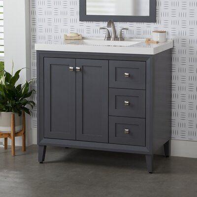 Winston Porter Eila 37 Single Bathroom Vanity Set Base Finish Graphite 48061921098403806 In 2020 Single Bathroom Vanity Vanity