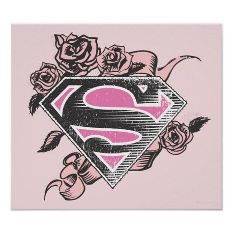 Supergirl Logo with Roses Poster #Ad , #Sponsored, #Roses, #Poster, #created, #Shop, #Supergirl