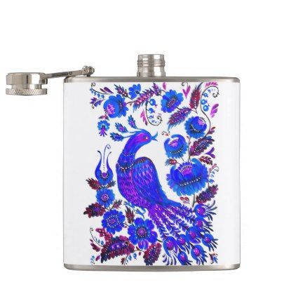 Ice Bird Petrykivka Ukrainian Art Hip Flask Floral Style Flower Flowers Stylish Diy Personalize Flask Ukrainian Art Hip Flask
