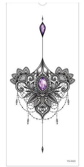 Tattoo Sticker 1pc new Chest large flower skull rose
