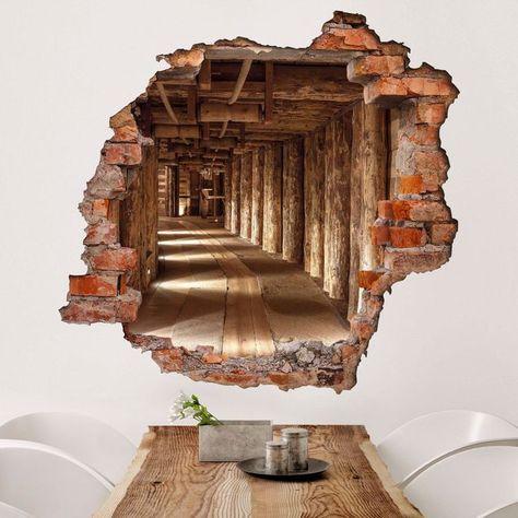 3d Wandtattoo Alte Goldmine Quadrat 1 1 In 2020 3d Wallpaper