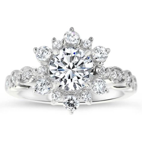 Wedding SET - Gorgeous UNIQUE Flower Rose Diamond Engagement