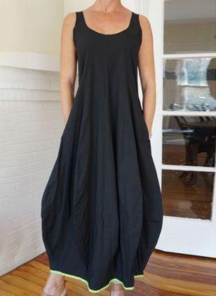 Solid Ruffles Slip Camisole Neckline X-line, Dress - Black / XXL