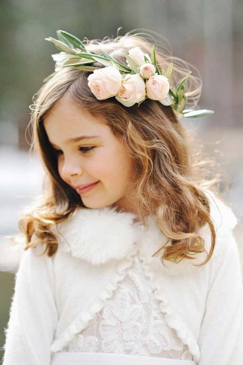 Flower Girl with a Flower Crown   Michelle Leo Events   Rebekah Westover Photography