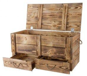 Xxl Holztruhe Geflammt Mit 2 Schubladen Und Kordel 85 5x42x43 5cm
