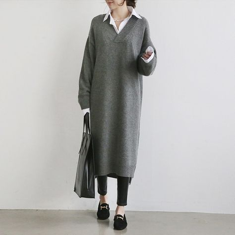 V-neck Long Sleeve Below The Knees Sweater – Allinlike