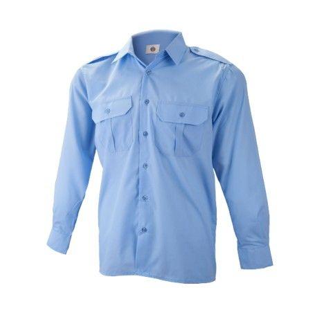 Camisa mlarga hombre, 2 bolsillos con tapa