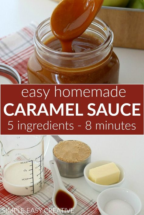 Homemade Caramel Sauce :: 5 ingredients + ready in less than 10 minutes!Homemade Caramel Sauce :: 5 ingredients + ready in less than 10 minutes! Perfect Caramel Sauce for Apples! This Easy Caramel Sauce Recipe will be your next go to reci Homemade Carmel Sauce, Homemade Sauce, Homemade Caramel Apples, Caramel Apple Sauce, Caramel Sauce Easy, Easy Recipe For Caramel, Brown Sugar Caramel Recipe, Caramel Sauce Recipe For Coffee, Caramel Filling For Cake