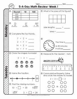 3rd Grade Daily Math Spiral Review Morning Work Editable Spiral Math Daily Math Math Spiral Review