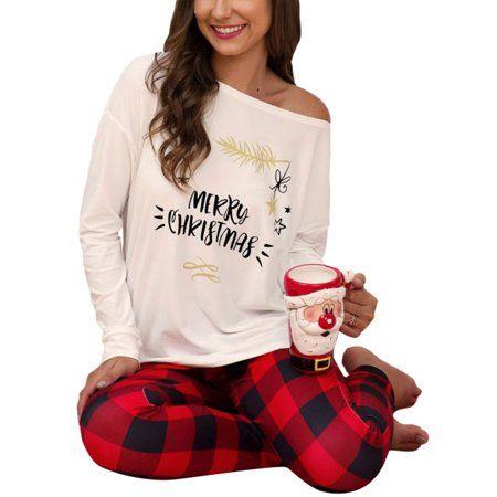 2pcs Women Autumn Winter Merry Christmas Printed T Shirt Plaid Pants Sleepwear Set Pajamasfabric In 2020 Christmas Pajamas Ladies Womens Christmas Pajamas Plaid Pants
