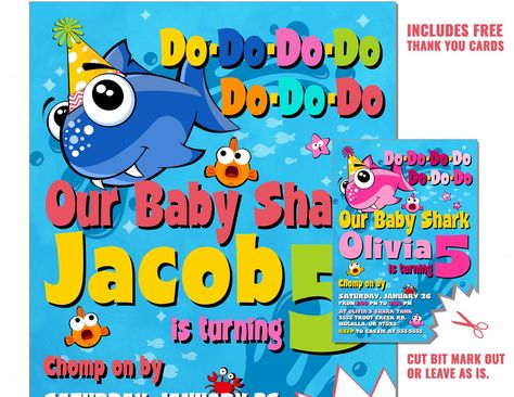 Baby Shark Birthday Invitation Party Invite Do