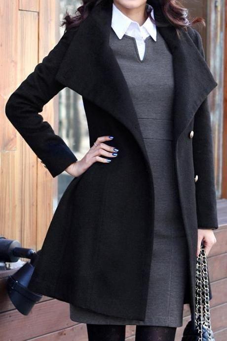 Black Wool Jacket Women Coat women dress Autumn by