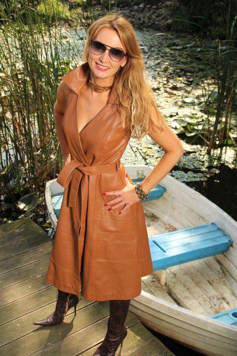 Cognac leather sleeveless wrap dress