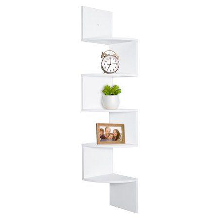 Greenco 5 Tier Wall Mount Corner Shelves White Finish Walmart Com Wall Mounted Corner Shelves Shelves Corner Shelves