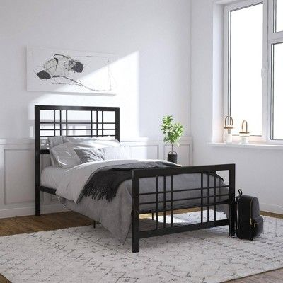 Twin Bellatrix Metal Bed Black Room Joy In 2019 Metal Beds