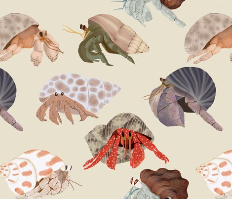 Colorful fabrics digitally printed by Spoonflower - Hermit Crabs