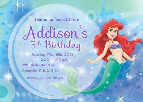 Little Mermaid Ariel Printable Birthday Invitation