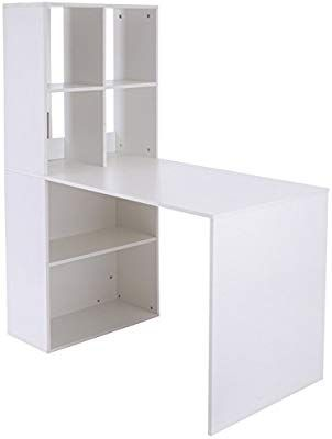Amazon Com Vinsetto 57 Modern Work Table Computer Desk And Stoage Cabinet Combo Home Office White Kitc Modern Spaces Computer Table Space Saving Furniture