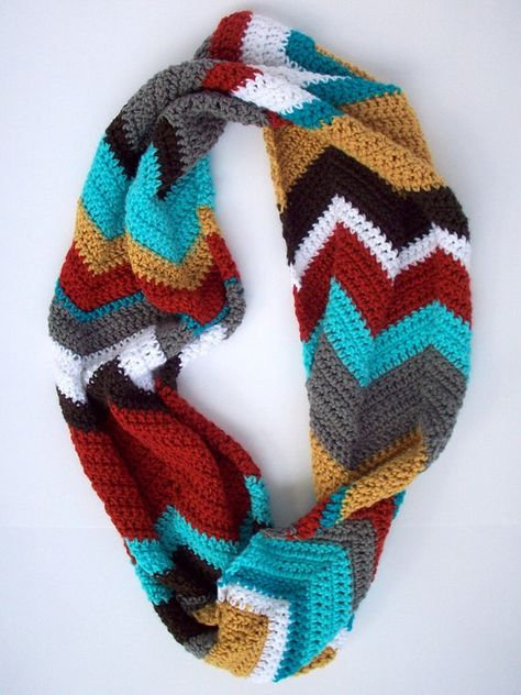 Crochet Chevron Patterned Infinity Scarf.