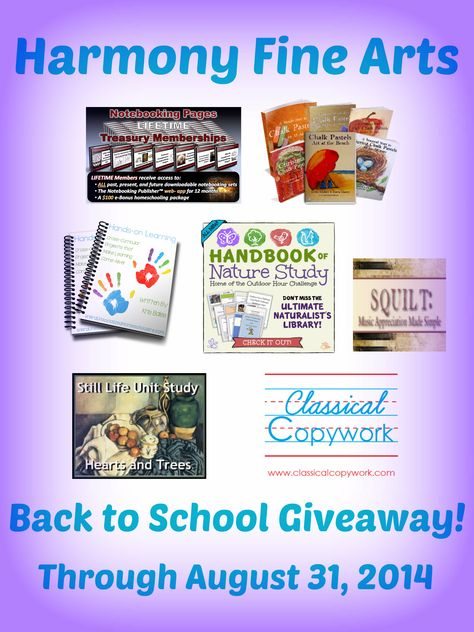 Harmony Fine Arts Back to School Giveaway @harmonyfinearts. If you have been waiting to purchase Harmony Fine Arts...now is the time to get 25% off and be entered to win some wonderful prizes from your favorite homeschooling resources.