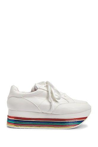 Rainbow Striped Low Top Sneakers Top Sneakers Sneakers White Sneakers