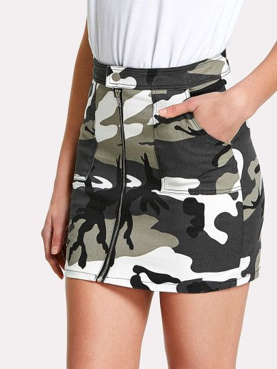 SheIn offers Zip Front Dual Pocket Camo Skirt & more to fit your fashionable needs.