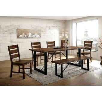 Bailee 6 Piece Solid Wood Dining Set Reviews Joss Main Industrial Style Dining Table Solid Wood Dining Set Dining Table
