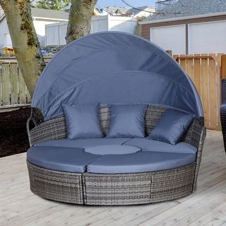 Outsunny 5 piece Cushioned Outdoor Rattan Wicker Round