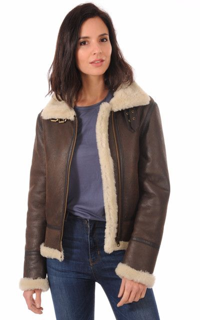 65f8bc8b53 Bombardier Femme Marron | fashion women in 2019 | Aviator jackets, Jackets,  Leather